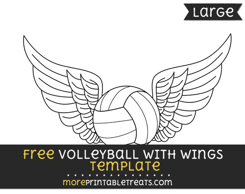 Free Volleyball With Wings Template - Large