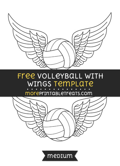 Free Volleyball With Wings Template - Medium
