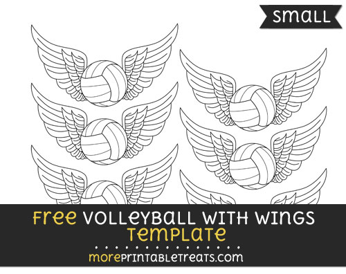Free Volleyball With Wings Template - Small
