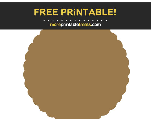 Free Printable Walnut Brown Scalloped Circle