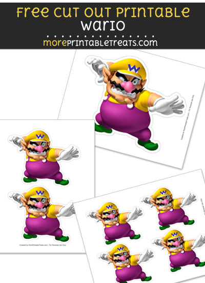 Free Wario Cut Out Printable with Dashed Lines - Mario