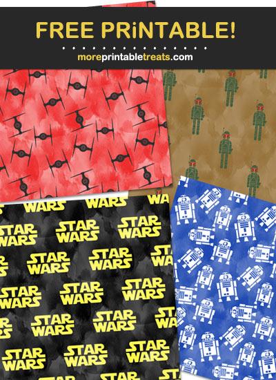 Free Printable Watercolor Star Wars Scrapbook Papers