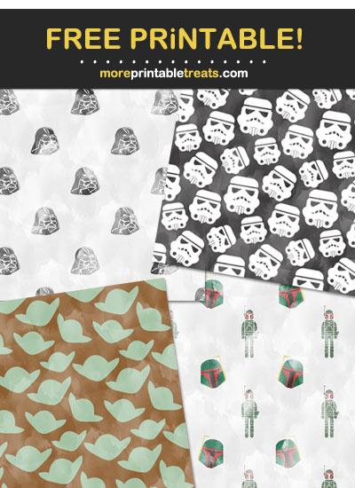 Free Printable Watercolor Star Wars Theme Paper