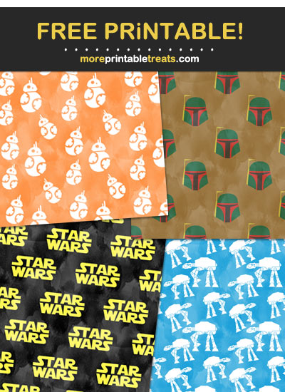 Free Printable Watercolor Star Wars Wrapping Paper