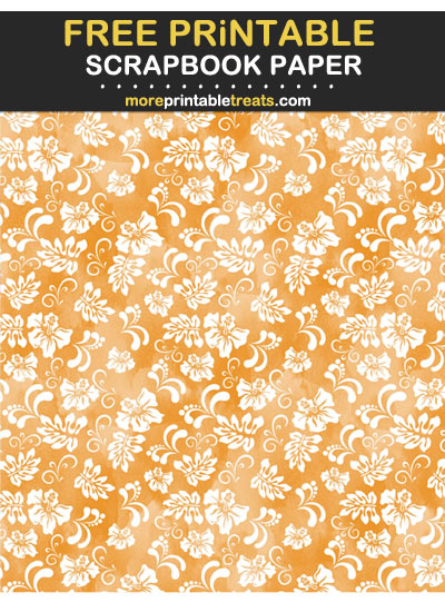Free Printable Watercolor-Textured Carrot Orange Hawaiian Scrapbook Paper