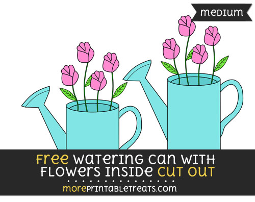 Free Watering Can With Flowers Inside Cut Out - Medium Size Printable