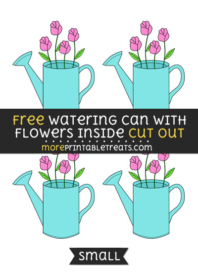 Free Watering Can With Flowers Inside Cut Out - Small Size Printable