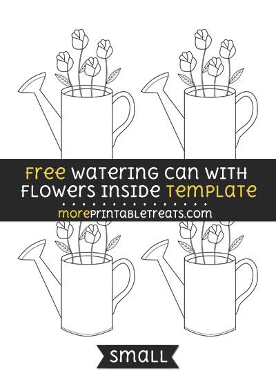 Free Watering Can With Flowers Inside Template - Small