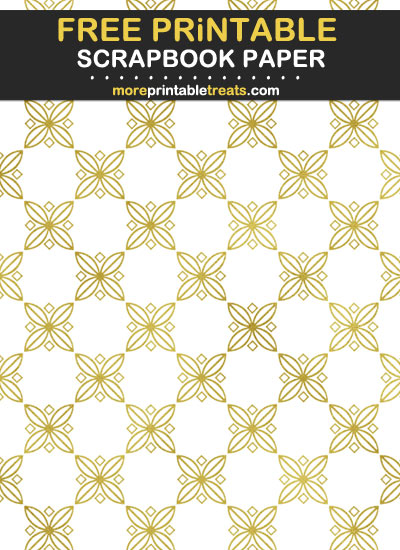 Free Printable White and Gold Foil Scrapbook Paper