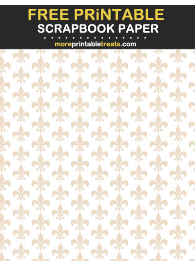 Free Printable Antique White Fleur de Lis Scrapbook Paper