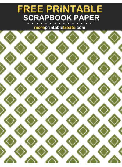 Free Printable Olive Green Ikat Diamond Scrapbook Paper