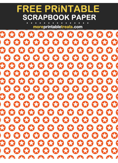 Free Printable Orange Circle Stars Scrapbook Paper