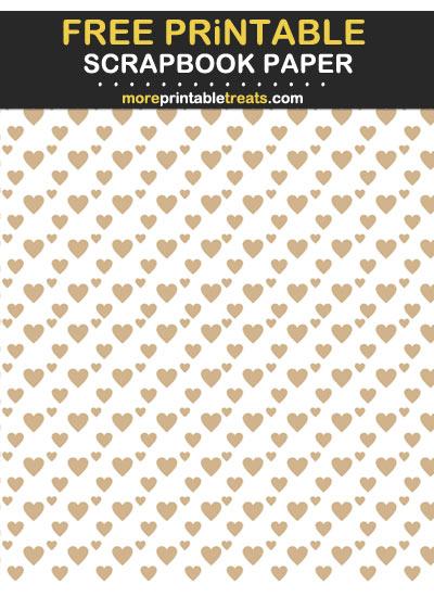 Free Printable Tan Diagonal Hearts Scrapbook Paper