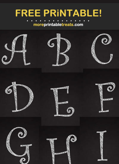 Free Printable White Curly Chalk Alphabet - Letters, Numbers, Punctuation