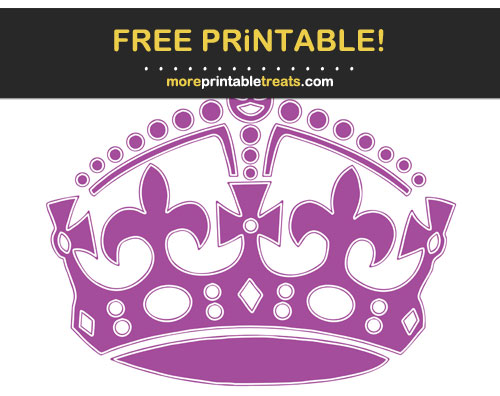 Free Printable White-Outlined Plum Purple Keep Calm Crown