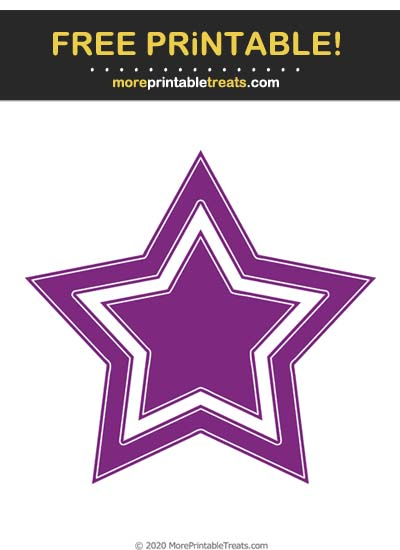 Free Printable White-Outlined Purple Double Star Cut Out