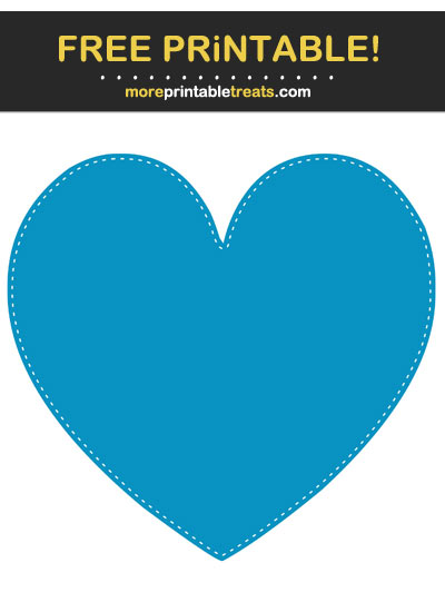 Free Printable White-Stitched Cerulean Blue Heart Cut Out