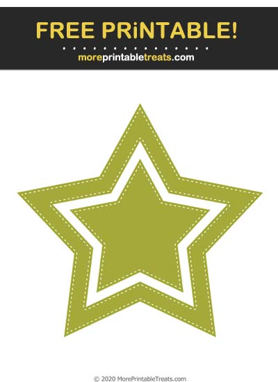 Free Printable White-Stitched Chartreuse Green Double Star Cut Out