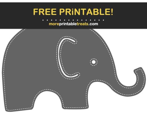 Free Printable White-Stitched Dark Gray Baby Elephant Cut Out