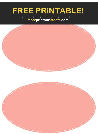 Free Printable White-Stitched Salmon Pink Oval Labels