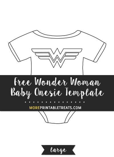 Free Wonder Woman Baby Onesie Template - Large