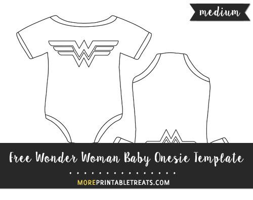 Free Wonder Woman Baby Onesie Template - Medium Size