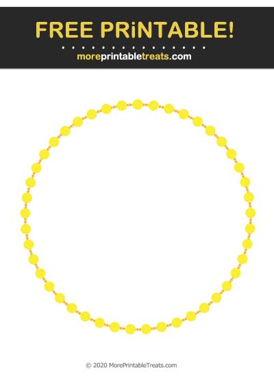 Free Printable Yellow Beaded Circle Frame