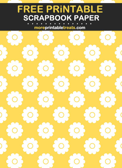Free Printable Yellow Flowery Scrapbook Paper