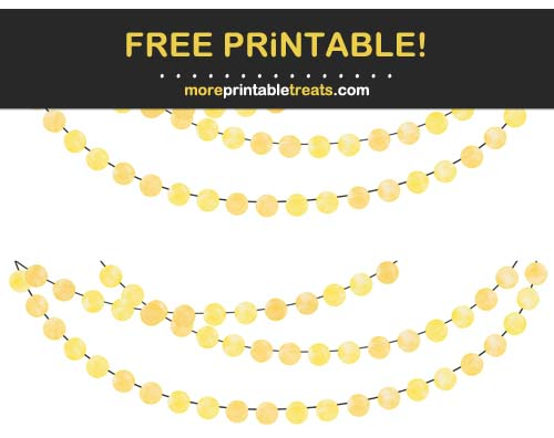 Free Printable Yellow Watercolor Circles Bunting Banner Cut Outs