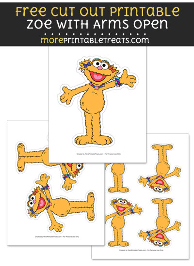 Free Zoe with Arms Open Cut Out Printable with Dashed Lines - Sesame Street